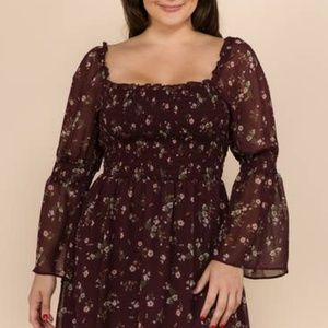 SMOCKED TOP BELL SLEEVE BABY DOLL DRESS PLUS SIZE